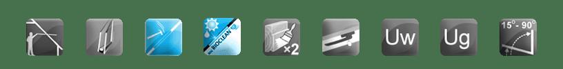 roterande fönster - 2szyby - BioClean - härdad - trä - hantera - vinkel
