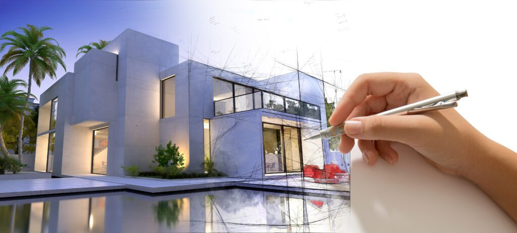 hand-drafting-design-villa-with-pool-house-becoming-real-1024x462 Zalety płaskich dachów